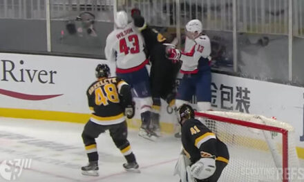 Caps' Wilson Avoids Penalty Call for High Hit on Bruins' Carlo