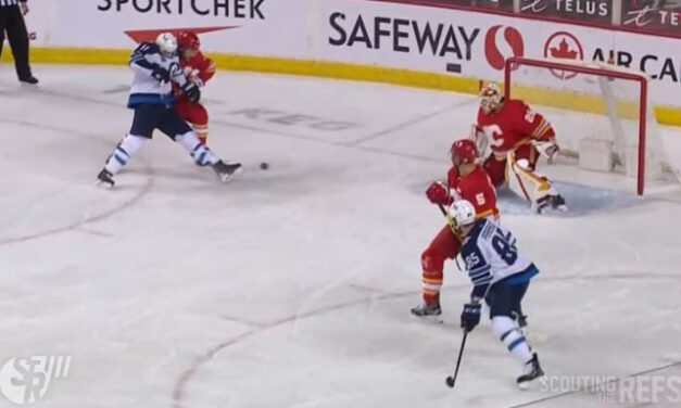 Jets' Thompson Scores Goal Off Skate vs. Flames