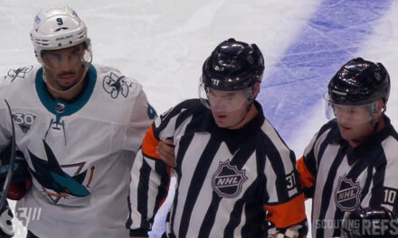 Referee Pierre Lambert Injured at Sharks/Kings