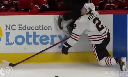 Linesman Delivers Knee to Head of Blackhawks' Keith
