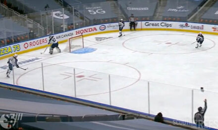 Linesman Steve Barton Lets Oilers Know They're Offside