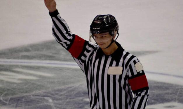 Abbotsford Referee Brayden Stewart Officiates Canucks Scrimmage