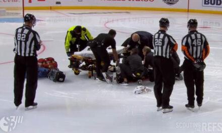Linesman Ryan Gibbons Injured in Pregame Collision