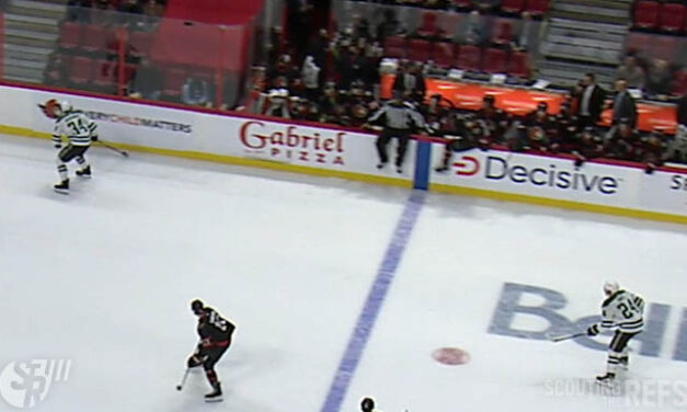 Linesman Shandor Alphonso Cut By Skate During Line Change